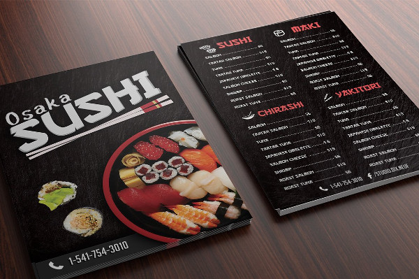 A5 Sushi Cafe Menu Flyer Template