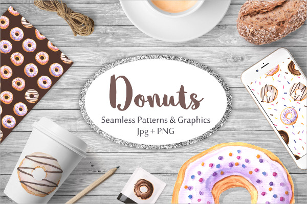Donut Watercolor Patterns and Graphics