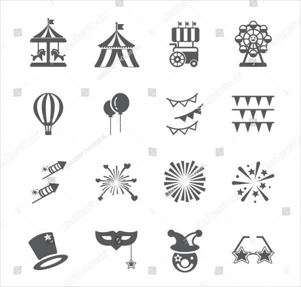 Funny Carnival Icons Set