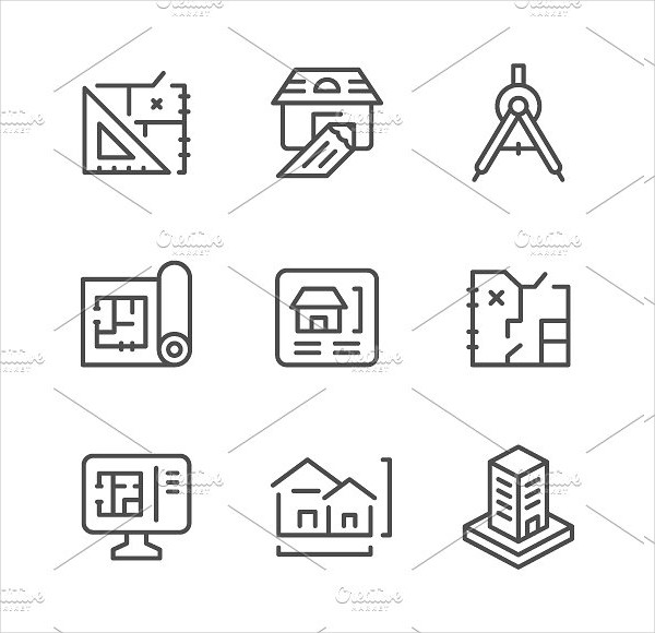 Set Line Icons Of Architectural Engineer