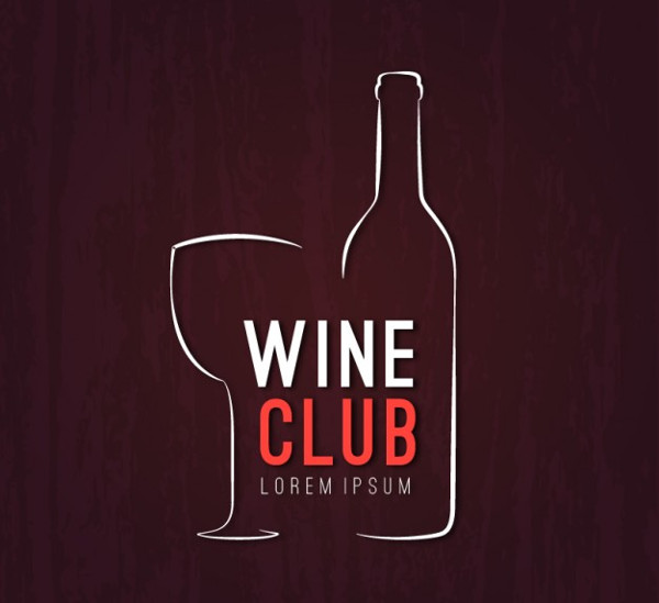 Sketchy Wine Club Logo Free Vector