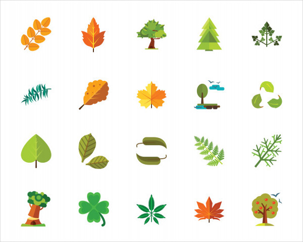 Trees And Leaves Autumn Icon Set Free Vector
