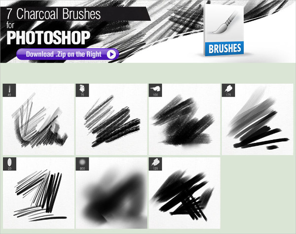 7 Charcoal Photoshop Brushes Free Download