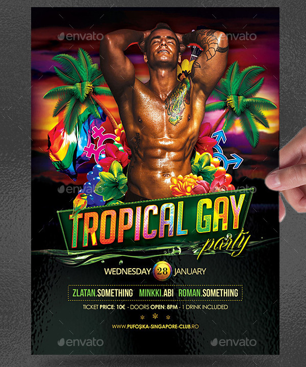 Gay Tropical Party Flyer Template