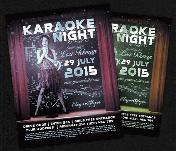 Karaoke Night Free PSD Flyer