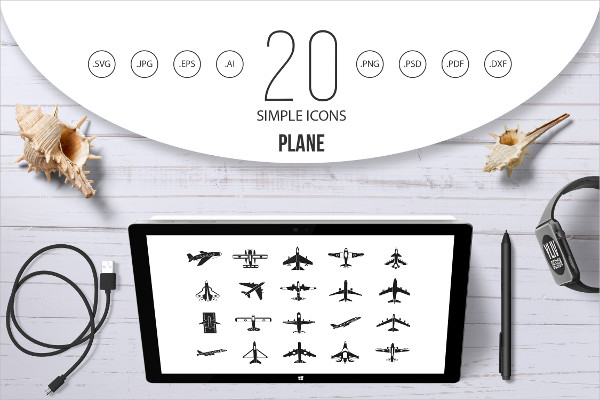Plane Icon Set in Simple Style
