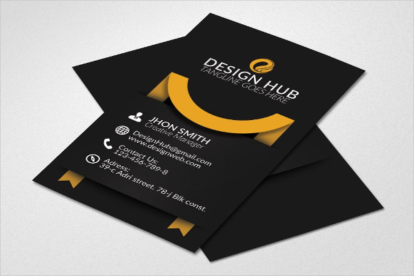 Vertical Ribbon Business Cards Design
