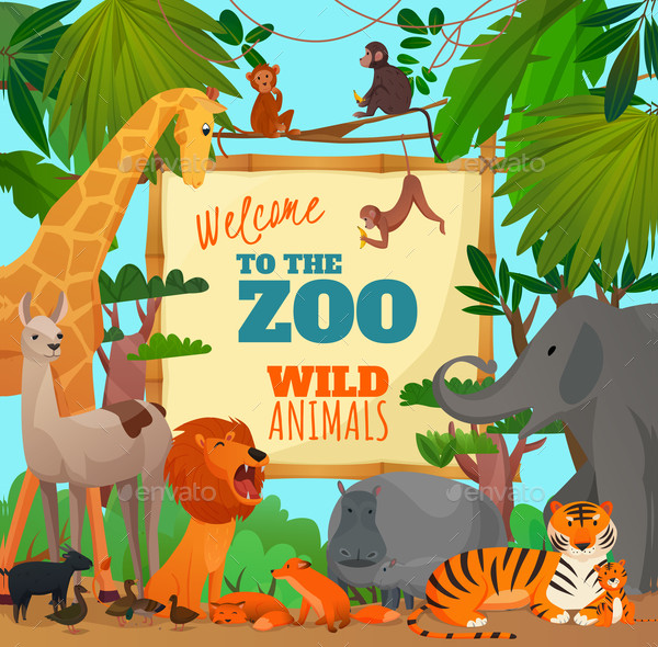 Welcome To Zoo Cartoon Online Poster