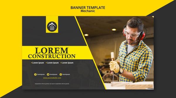 Carpenter Manual Worker Handyman Banner Template Free PSD