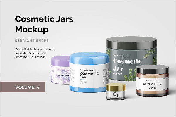 Customizable Cosmetic Jars Mockup Design