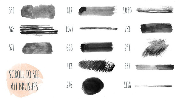 180 Hand Made Watercolor PS Brushes Download