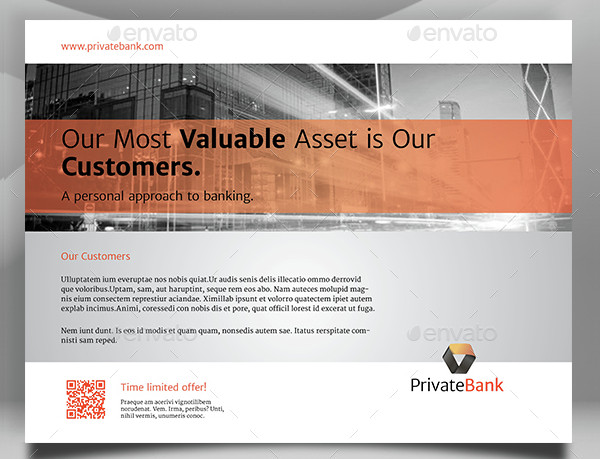 Private Bank Landscape Flyer Template