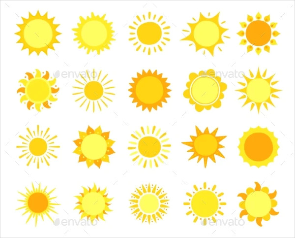 Sunny Weather Signs Vector Set