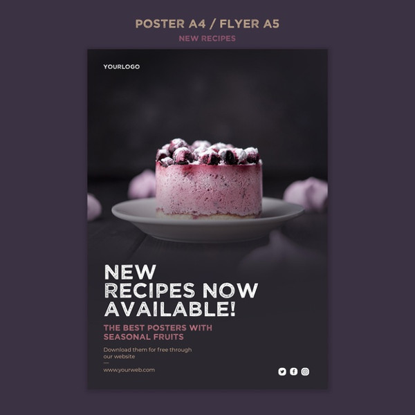 Sweet Recipes Flyer Free PSD Download