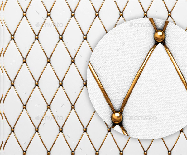 White Button on Tufted Leather Background