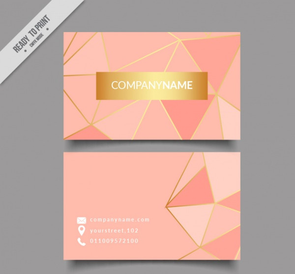 Free Golden and Pink Business Card Download