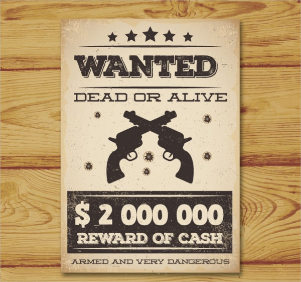 Vintage Wanted Poster With Two Guns Free