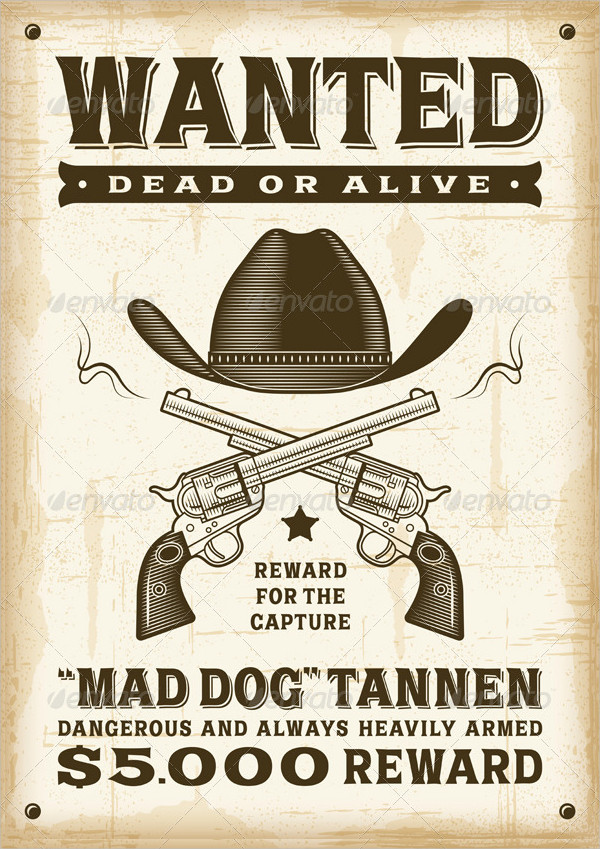 Vintage Western Wanted Poster Template
