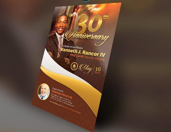 Gold Pastor's Anniversary Flyer
