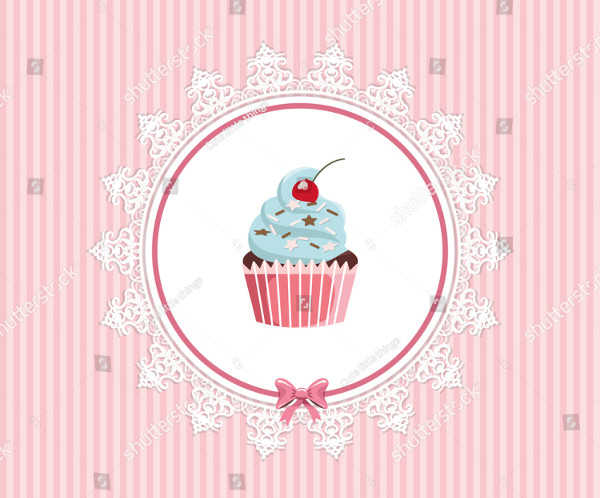 Greeting Card Template with Cupcake