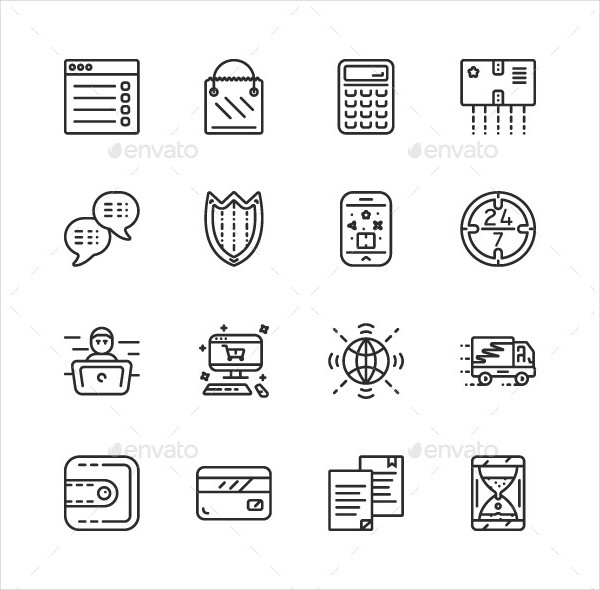 Outline Online Payment Icon Pack