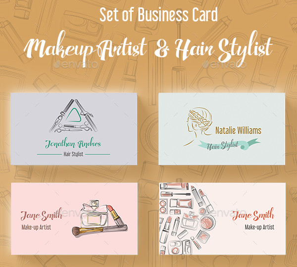 Set of Makeup Artist and Hair Stylist Business Cards