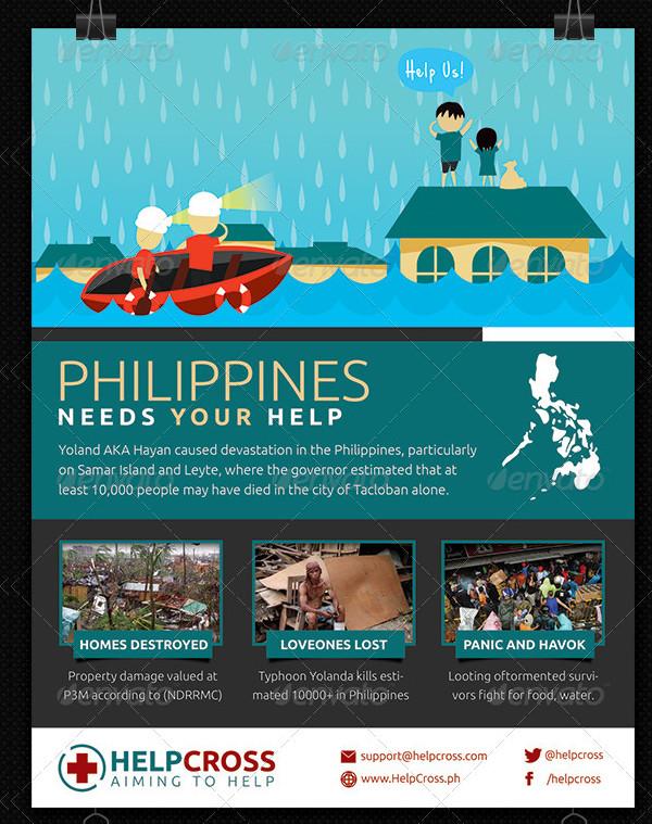 Typhoon Victim Fundraiser Flyer Templates