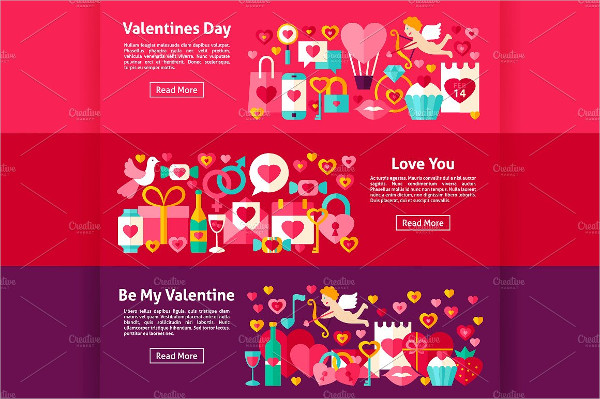 Valentine's Day Flat Banners