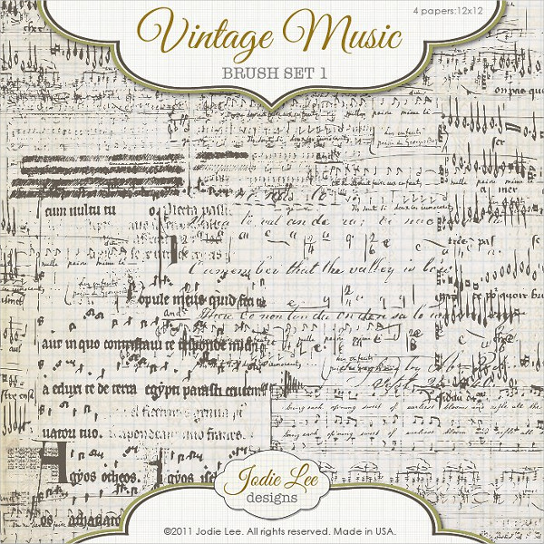 Vintage Music Sheet Brushes