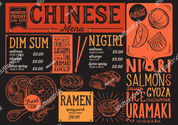 Unique Chinese Menu Design Template