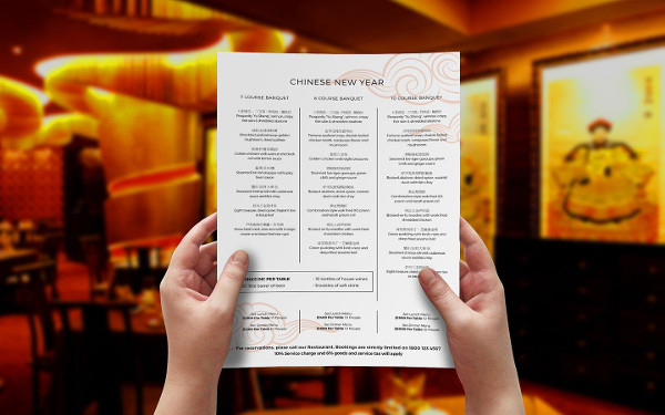 Chinese New Year Menu Template