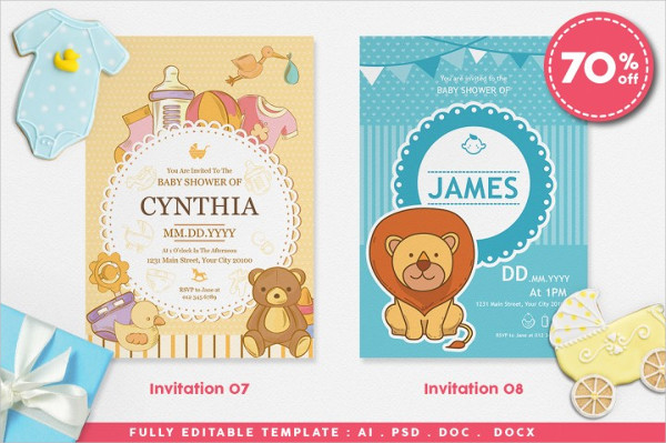 Fully Editable Baby Shower Invitations