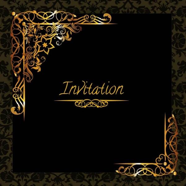 Elegant Golden Design Invitation Free Download