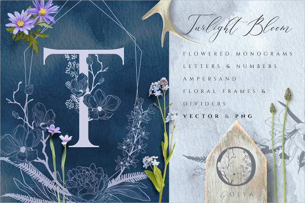Flowered Monograms and Design Elements