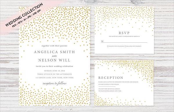Gold Confetti Wedding Invitation Set