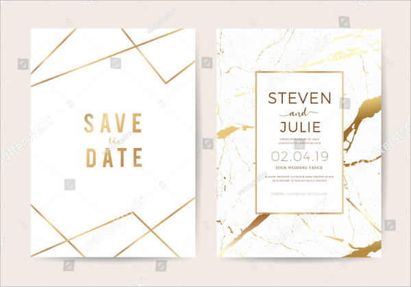 Luxury Wedding Invitation Cards with Gold Marble Texture