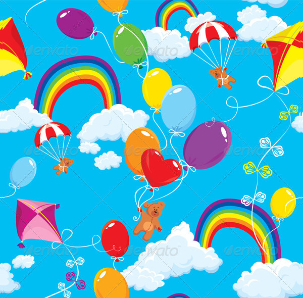 Seamless Pattern with Rainbow Clouds