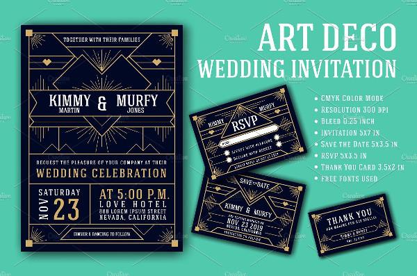 Art Deco Wedding Invitation Card Design