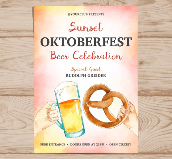 Watercolor Oktoberfest Posters Template Free