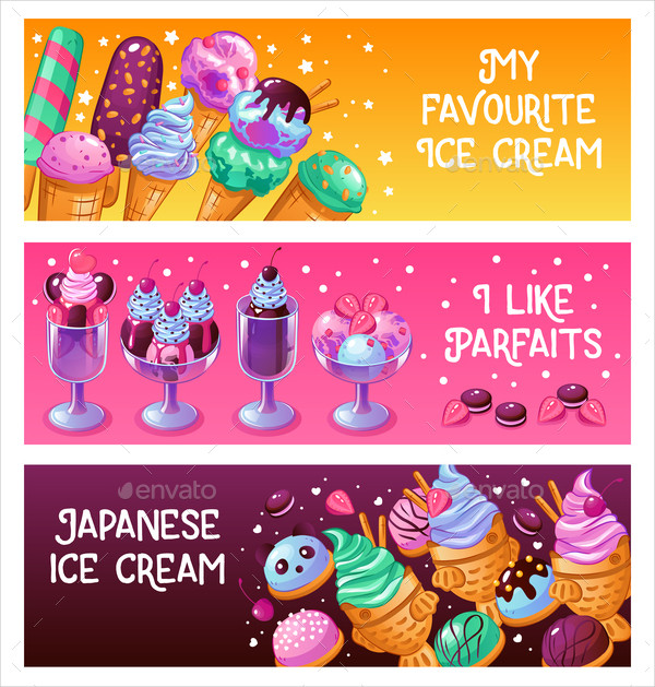 Colorful Ice Cream Banners Design
