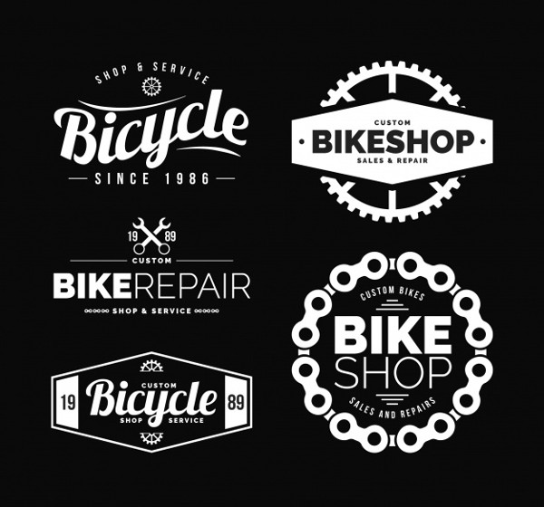Modern Set of Elegant Bike Logos Free Download