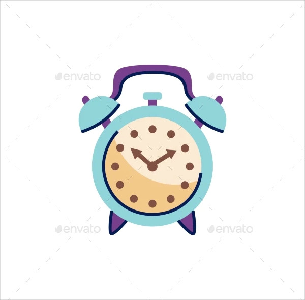Purple and Blue Alarm Doodle on White Background Vector