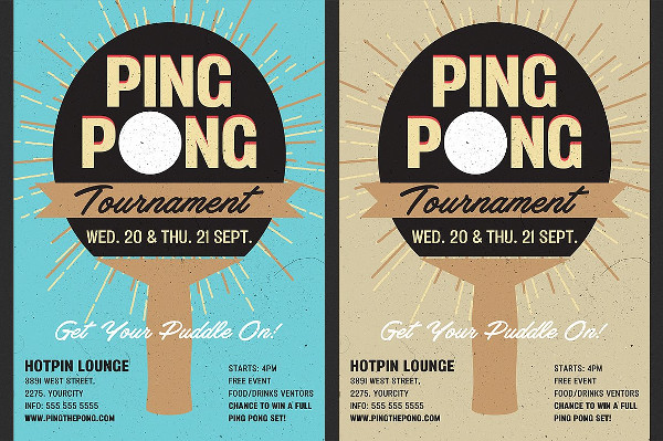 Table Tennis Tournament Flyer Designs