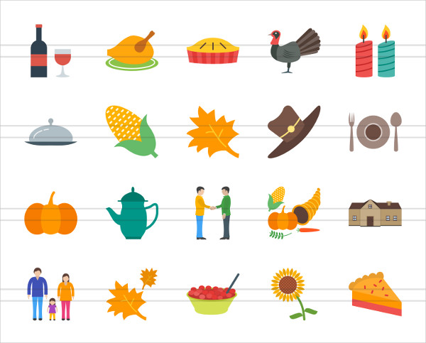 50 Thanksgiving Flat Multi-color Icons