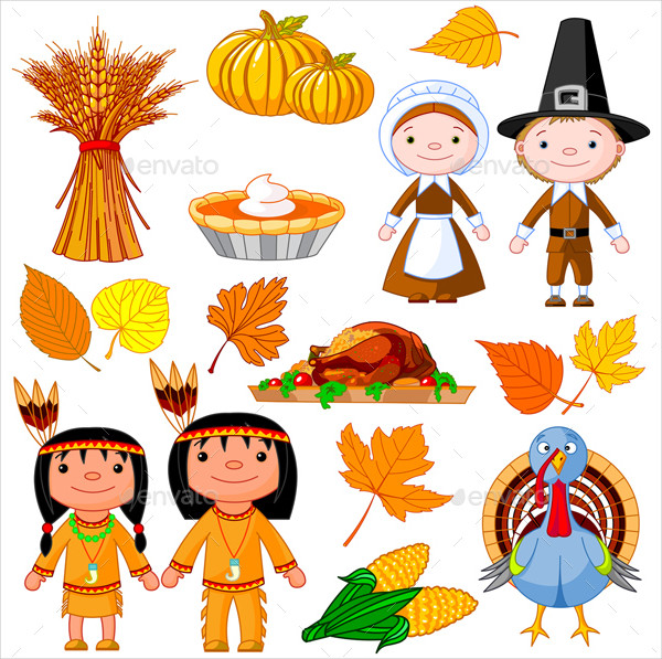 Illustrated Set of Thanksgiving Icon