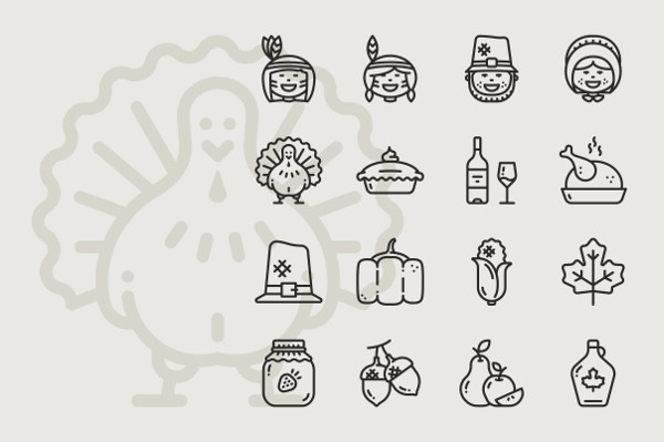 Thanksgiving Day 16 Outline Icons