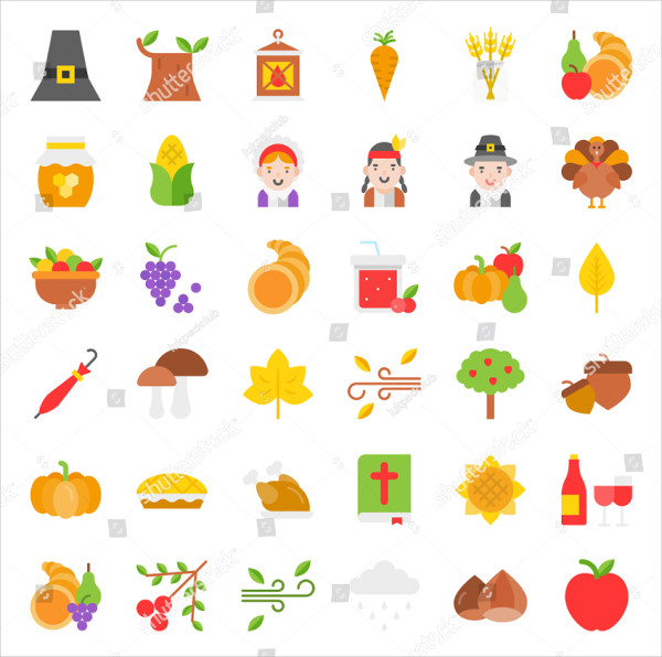 Thanksgiving Icon Big Set in Flat Design
