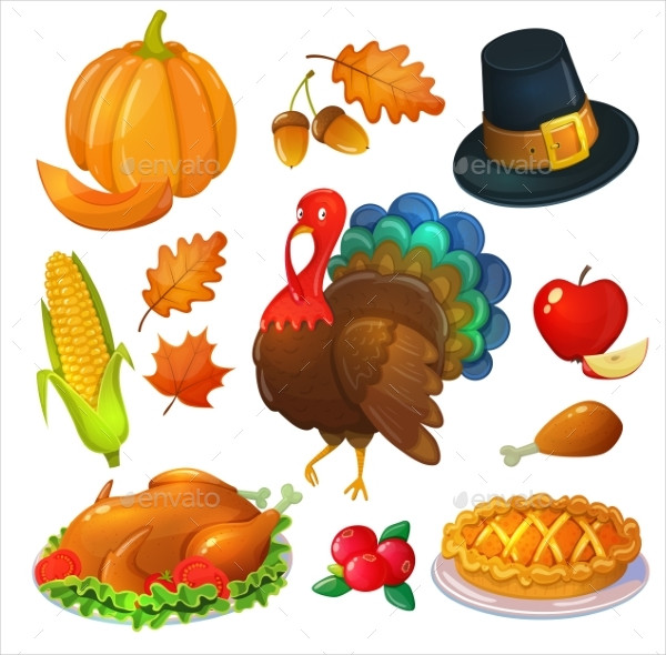 Traditional Set of Thanksgiving Icons Download