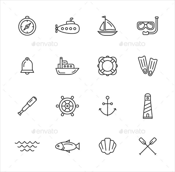 Nautical & Sea Thin Line Icon Collection