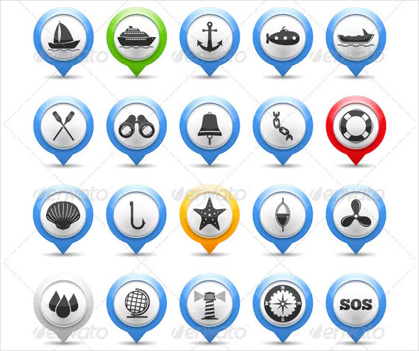 Set of Map Markers with Nautical Icon